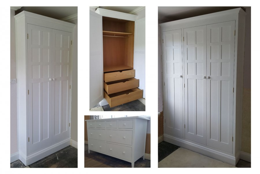 Painted Set of Two Large Fitted Wardrobes and Freestanding Drawer Unit