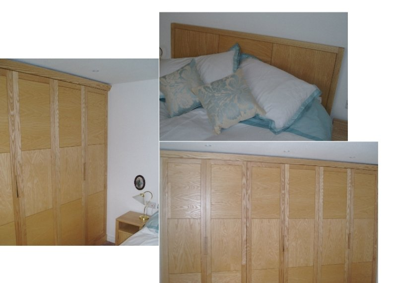 Fitted wardrobes, bedside cabinets and bed with headboard in Ash solid wood