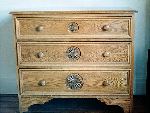 Carved Oak Drawer Unit