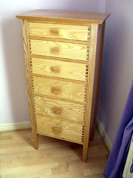 Tall, thin Ash Drawer unit