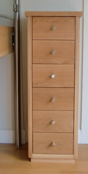 Tall thin Oak drawer unit