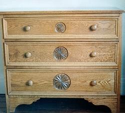 Carved Oak Drawer Unit