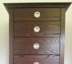 Dark Oak Six Drawer Unit with Stainless Steel Handles