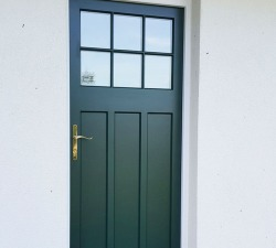 Hardwood Dark Green Door