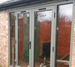 Hand Painted Double Hardwood Glass Patio Doors