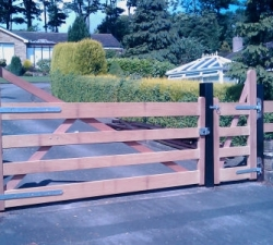 Hardwood driveway gate and pedestrian gate