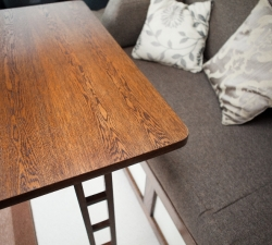 Unique oak veneered table for use in a motorhome van conversion