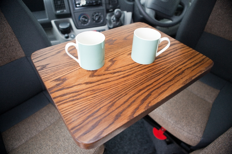 Unique oak veneered coffee table for use in a motorhome
