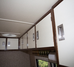 Overhead kitchen cupboards for a motorhome
