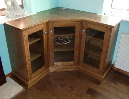 Oak corner storage cabinet