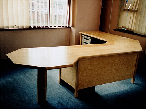 Ash Office Desk with hexagonal meeting table