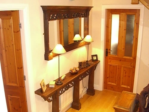 Radiator Shelf and Wooden Framed Mirror