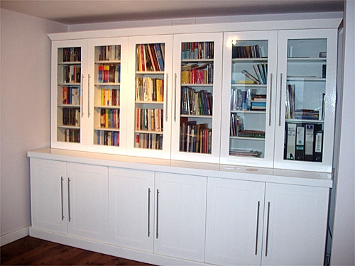 Free standing bookcase with glass doors