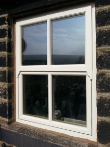 Mock sash window with a fire escape