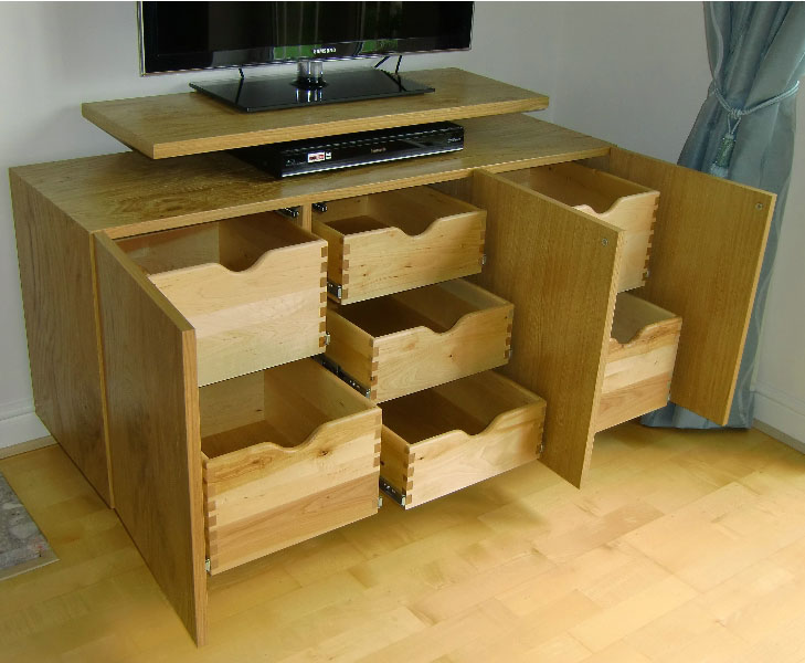 TV Cabinets   Internal View Of Pippy Oak TV Storage Cabinet